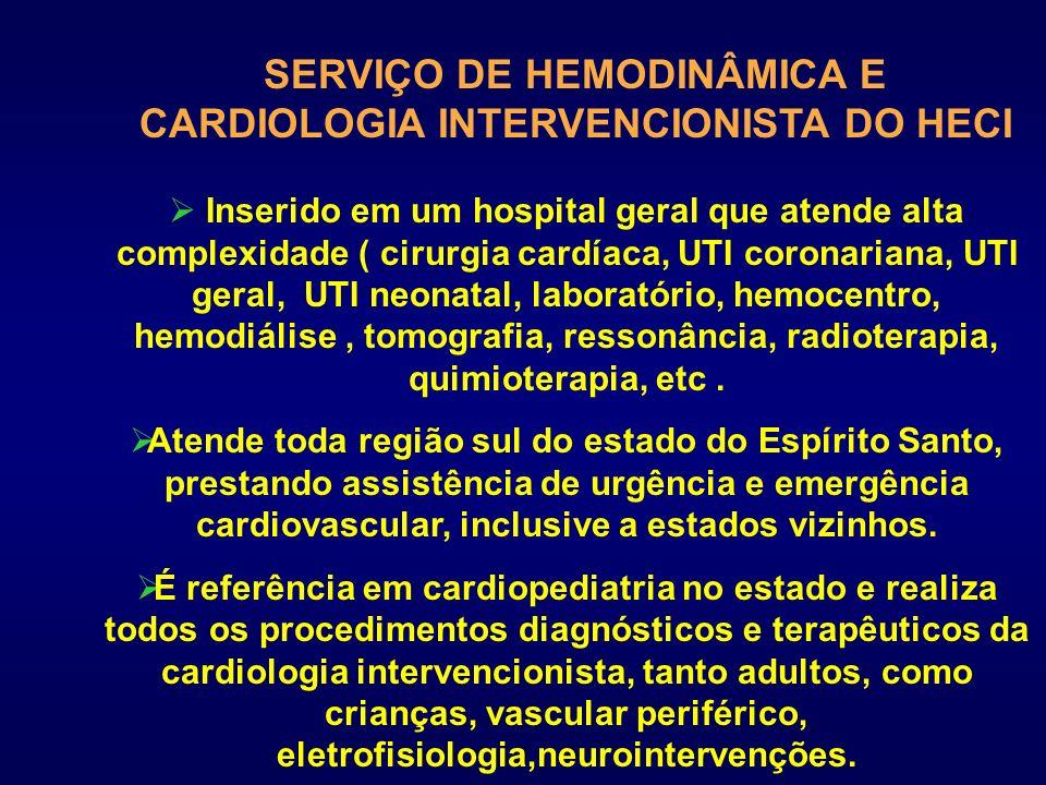 SERVIÇO DE HEMODINÂMICA E CARDIOLOGIA INTERVENCIONISTA DO HECI Inserido em um hospital geral que atende alta complexidade ( cirurgia cardíaca, UTI cor