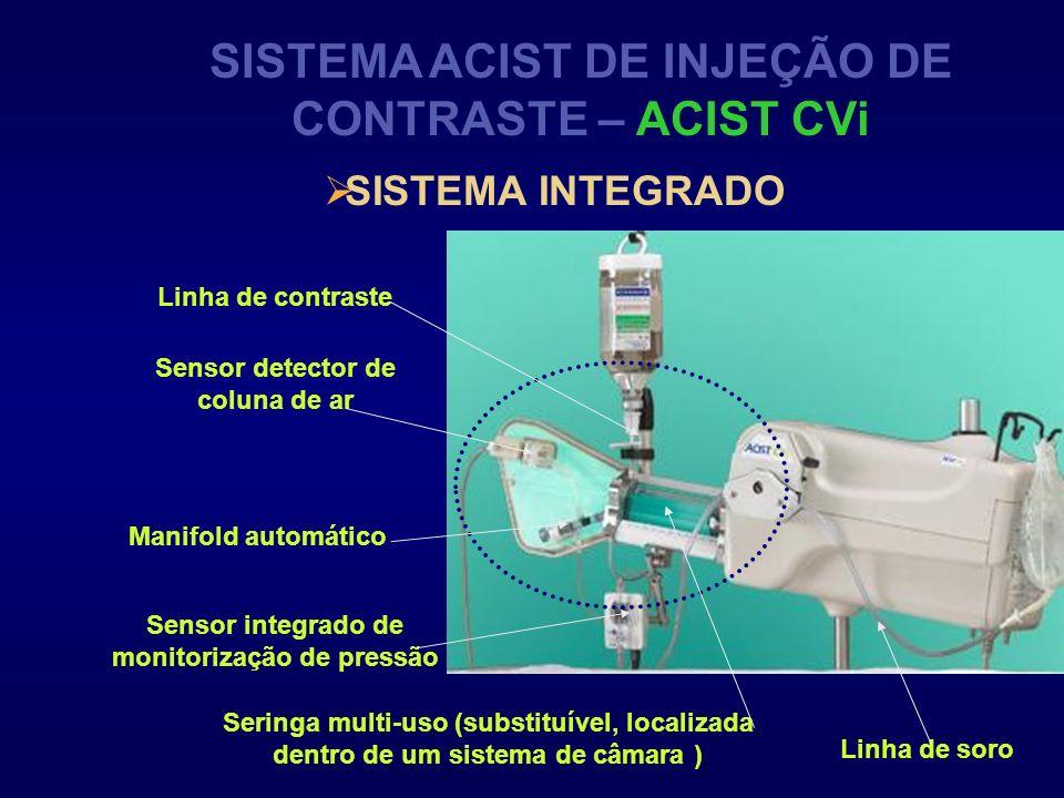 SISTEMA ACIST DE INJEÇÃO DE CONTRASTE – ACIST CVi SISTEMA INTEGRADO Sensor detector de coluna de ar Manifold automático Seringa multi-uso (substituíve