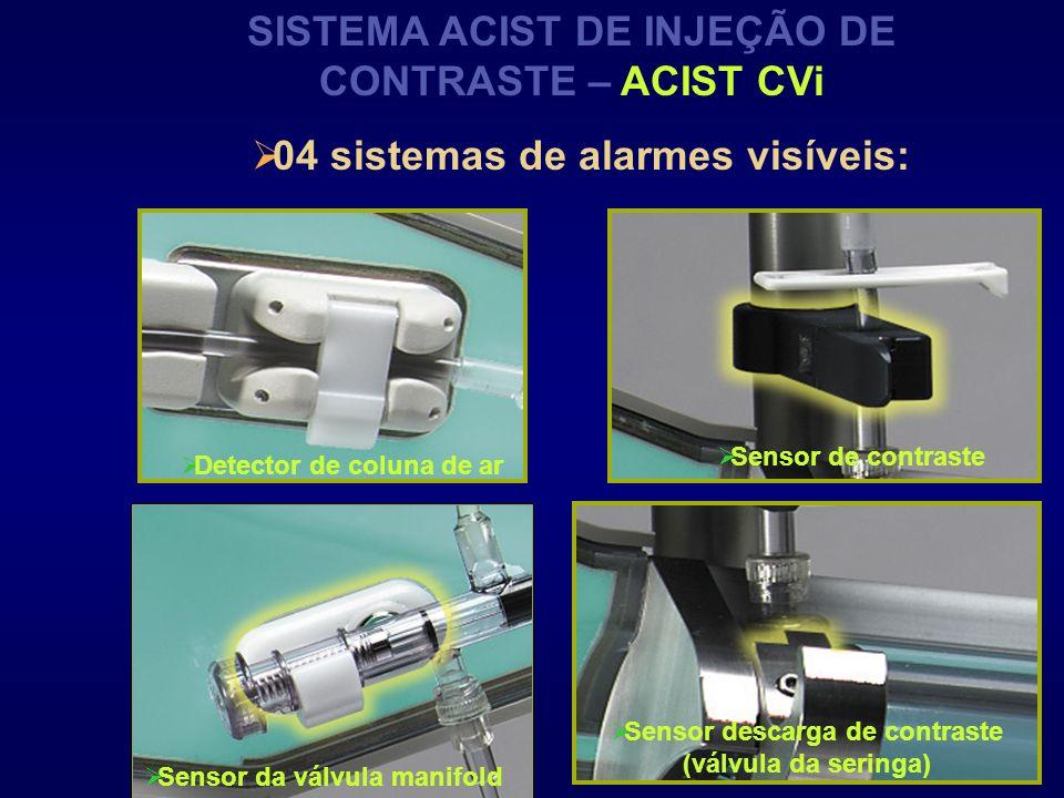 SISTEMA ACIST DE INJEÇÃO DE CONTRASTE – ACIST CVi Detector de coluna de ar Sensor da válvula manifold Sensor de contraste Sensor descarga de contraste
