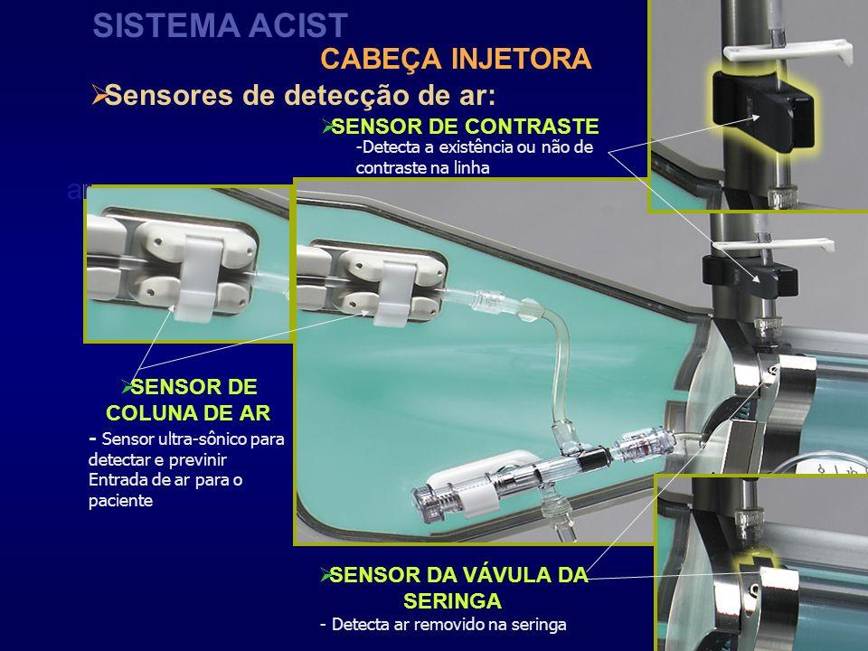 ar Sensores de detecção de ar: SISTEMA ACIST SENSOR DE COLUNA DE AR SENSOR DA VÁVULA DA SERINGA SENSOR DE CONTRASTE CABEÇA INJETORA - Sensor ultra-sôn