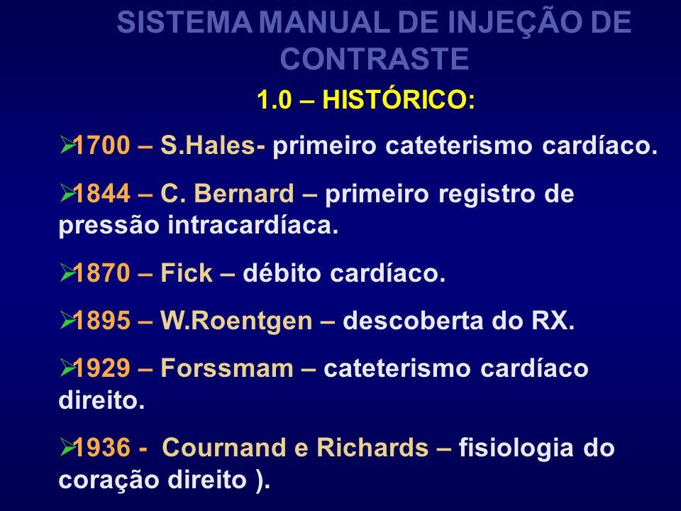 SISTEMA MANUAL DE INJEÇÃO DE CONTRASTE 1700 – S.Hales- primeiro cateterismo cardíaco. 1844 – C. Bernard – primeiro registro de pressão intracardíaca.