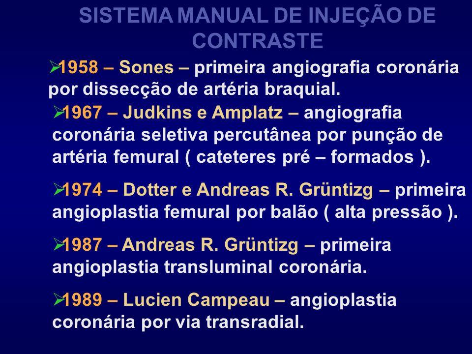 SISTEMA MANUAL DE INJEÇÃO DE CONTRASTE 1958 – Sones – primeira angiografia coronária por dissecção de artéria braquial. 1967 – Judkins e Amplatz – ang