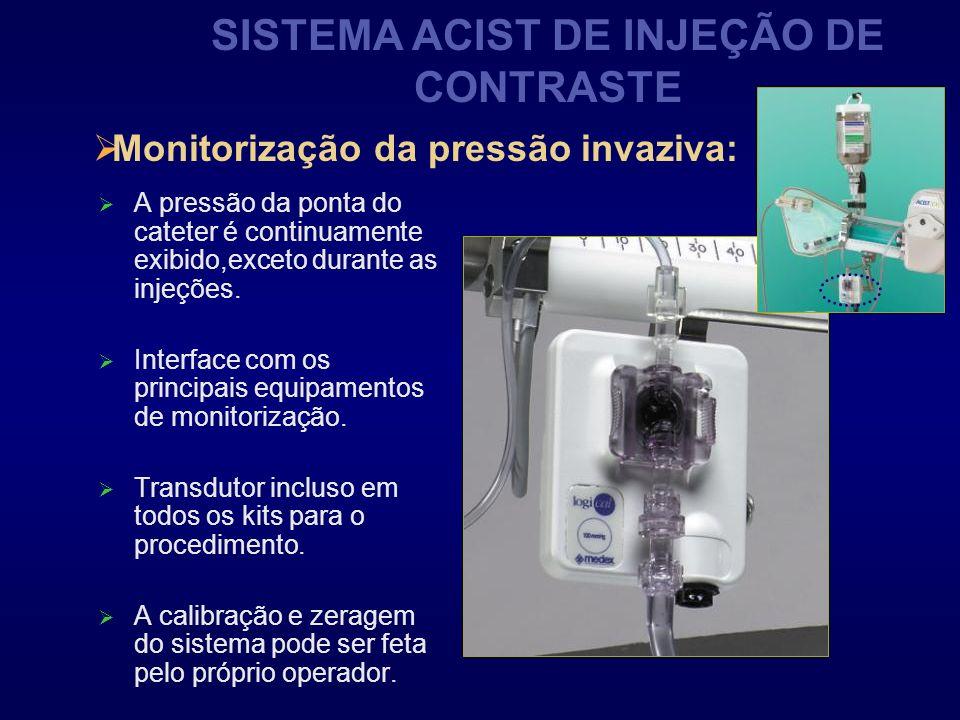 SISTEMA ACIST DE INJEÇÃO DE CONTRASTE A pressão da ponta do cateter é continuamente exibido,exceto durante as injeções. Interface com os principais eq