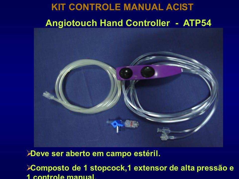 KIT CONTROLE MANUAL ACIST Deve ser aberto em campo estéril. Composto de 1 stopcock,1 extensor de alta pressão e 1 controle manual. Angiotouch Hand Con