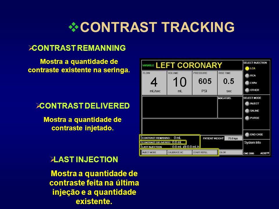 CONTRAST TRACKING CONTRAST REMANNING Mostra a quantidade de contraste existente na seringa. CONTRAST DELIVERED Mostra a quantidade de contraste injeta