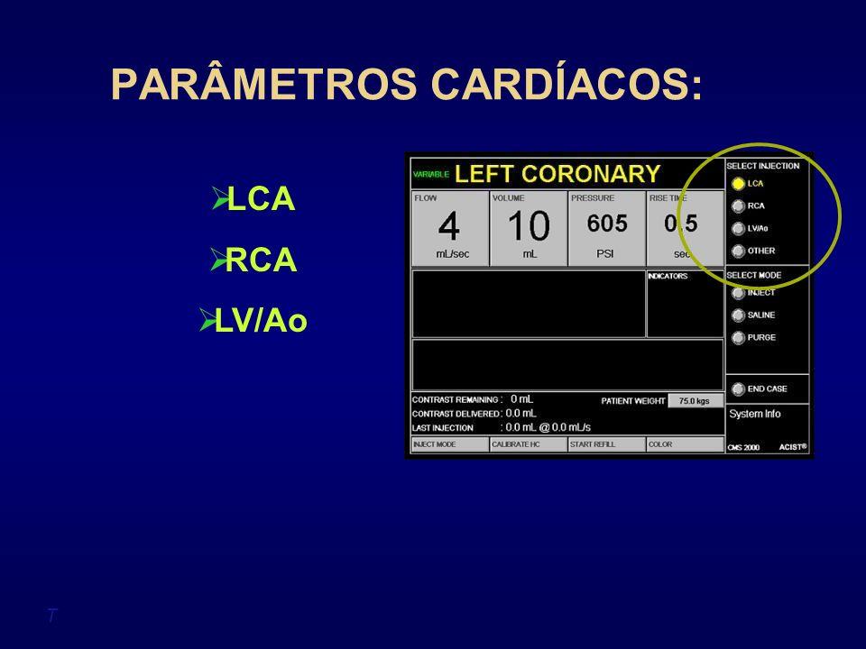 PARÂMETROS CARDÍACOS: T LCA RCA LV/Ao