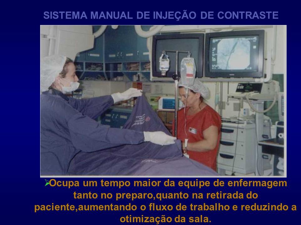 SISTEMA MANUAL DE INJEÇÃO DE CONTRASTE Ocupa um tempo maior da equipe de enfermagem tanto no preparo,quanto na retirada do paciente,aumentando o fluxo
