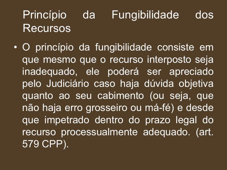 Princípio da Fungibilidade dos Recursos O princípio da fungibilidade consiste em que mesmo que o recurso interposto seja inadequado, ele poderá ser ap