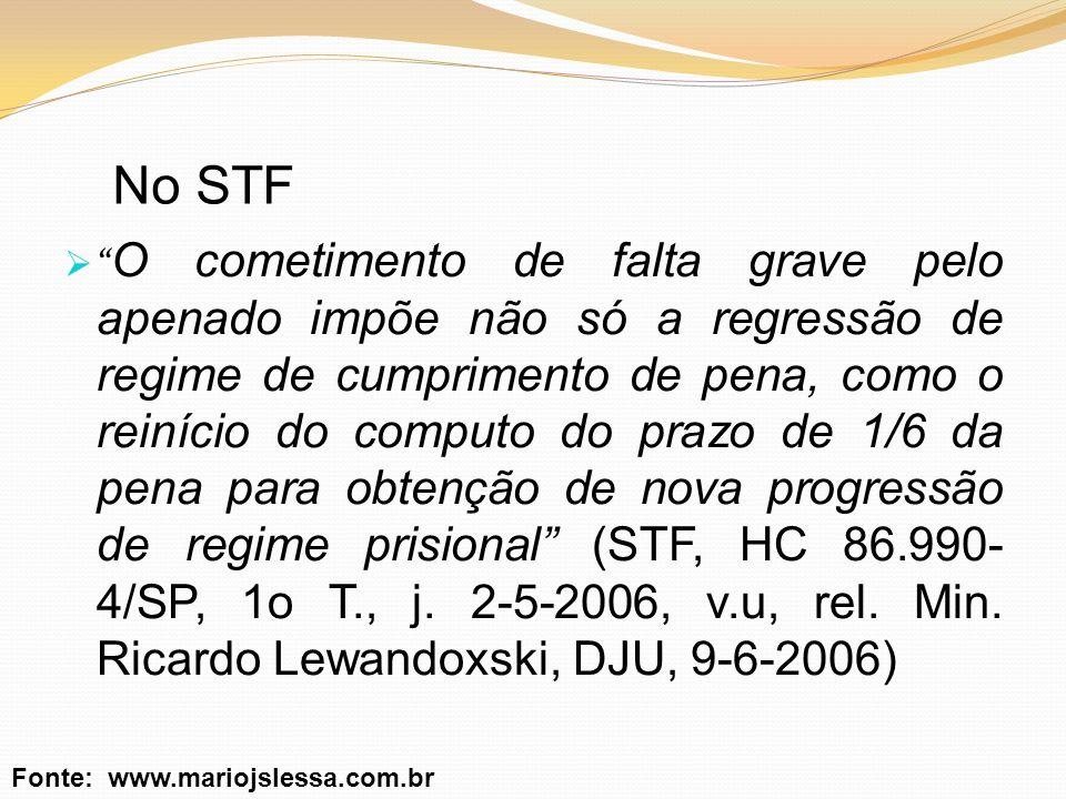 No STF O cometimento de falta grave pelo apenado impõe não só a regressão de regime de cumprimento de pena, como o reinício do computo do prazo de 1/6