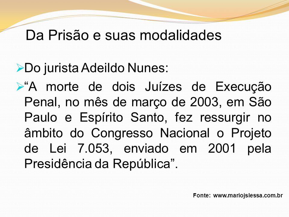 Da Prisão e suas modalidades Do jurista Adeildo Nunes: A morte de dois Juízes de Execução Penal, no mês de março de 2003, em São Paulo e Espírito Sant