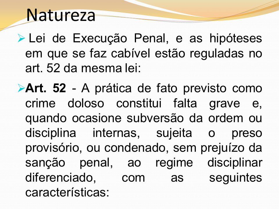 Natureza Lei de Execução Penal, e as hipóteses em que se faz cabível estão reguladas no art. 52 da mesma lei: Art. 52 - A prática de fato previsto com