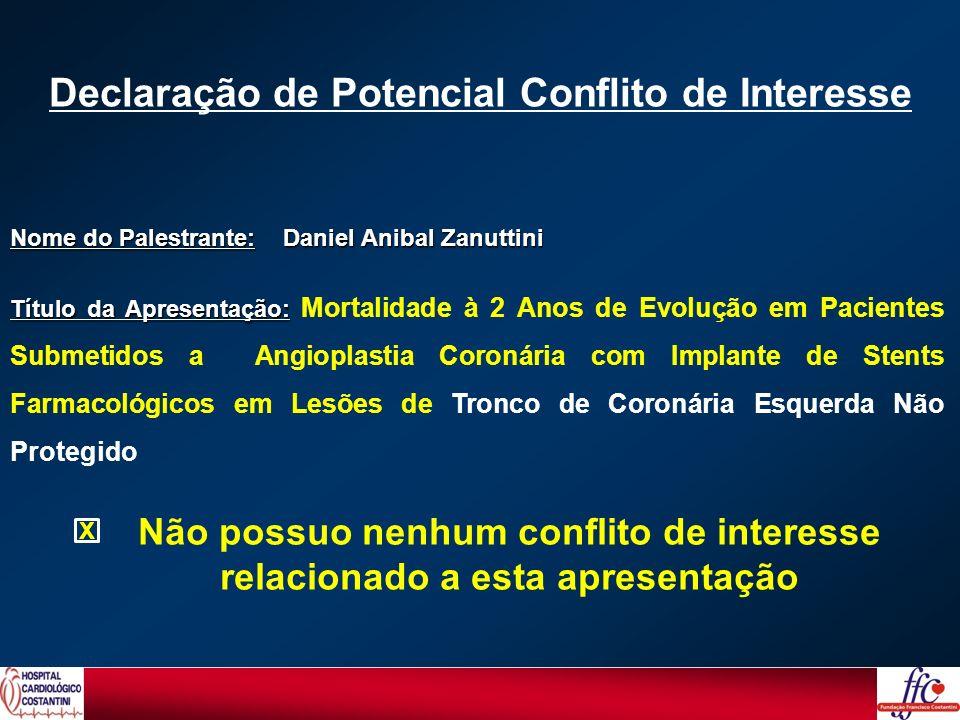 Nome do Palestrante: Daniel Anibal Zanuttini Título da Apresentação: Título da Apresentação: Mortalidade à 2 Anos de Evolução em Pacientes Submetidos
