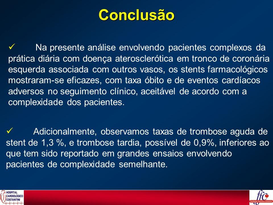 Na presente análise envolvendo pacientes complexos da prática diária com doença aterosclerótica em tronco de coronária esquerda associada com outros v