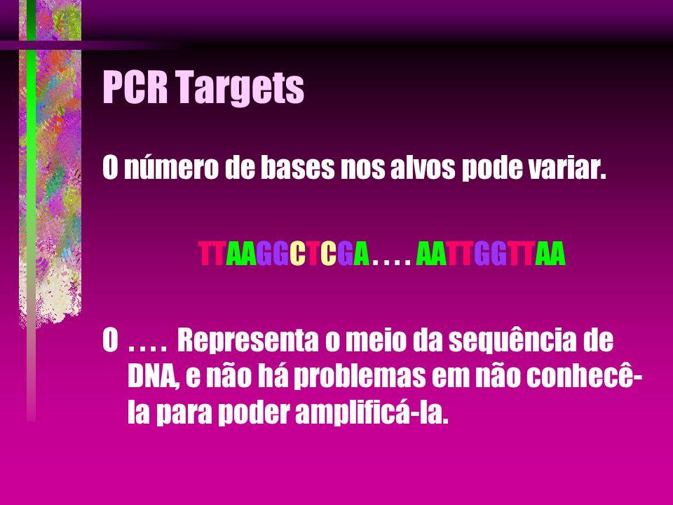 PCR Targets O número de bases nos alvos pode variar. TTAAGGCTCGA.... AATTGGTTAA O.... Representa o meio da sequência de DNA, e não há problemas em não