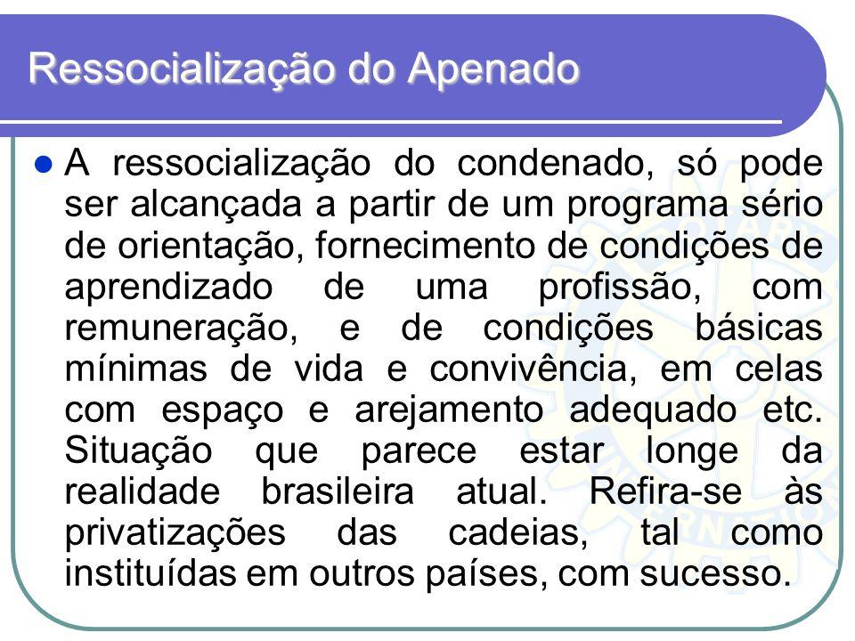 Ressocialização do Apenado A ressocialização do condenado, só pode ser alcançada a partir de um programa sério de orientação, fornecimento de condiçõe