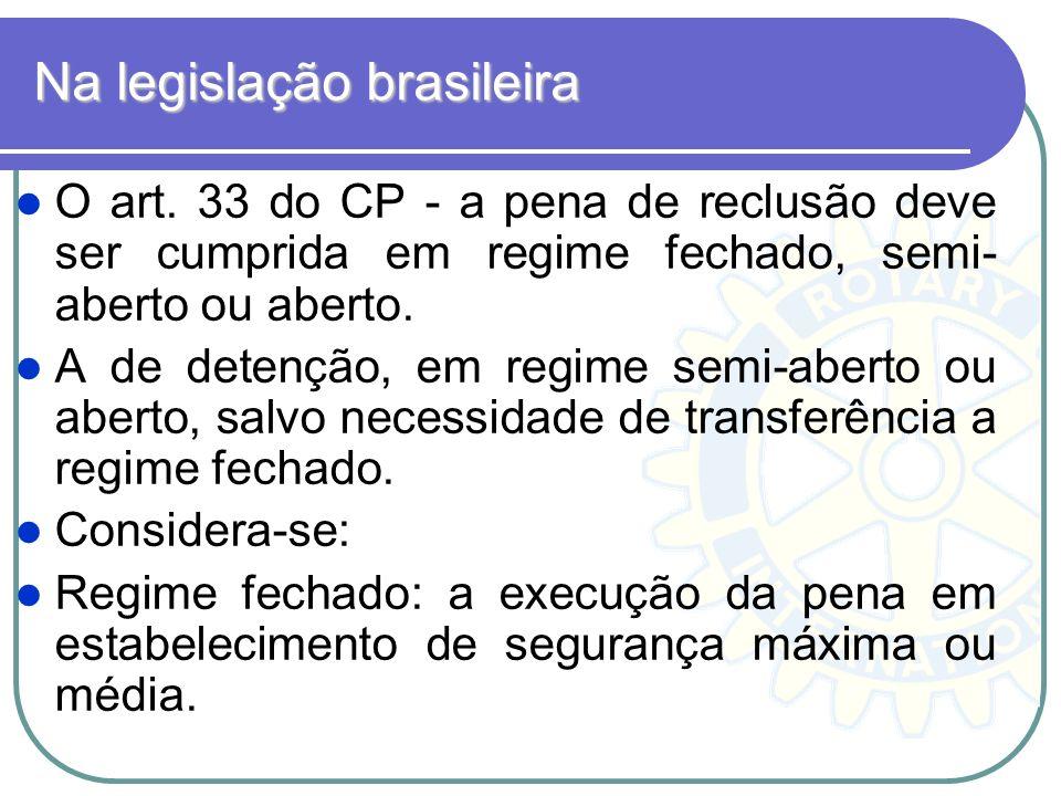 Na legislação brasileira O art. 33 do CP - a pena de reclusão deve ser cumprida em regime fechado, semi- aberto ou aberto. A de detenção, em regime se