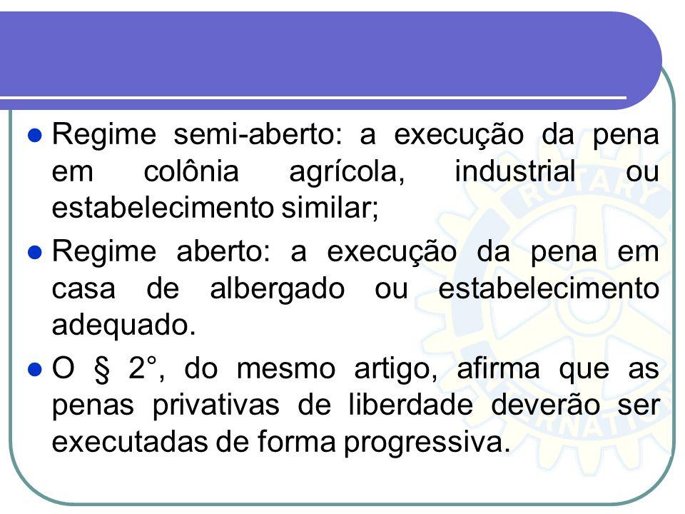 Regime semi-aberto: a execução da pena em colônia agrícola, industrial ou estabelecimento similar; Regime aberto: a execução da pena em casa de alberg