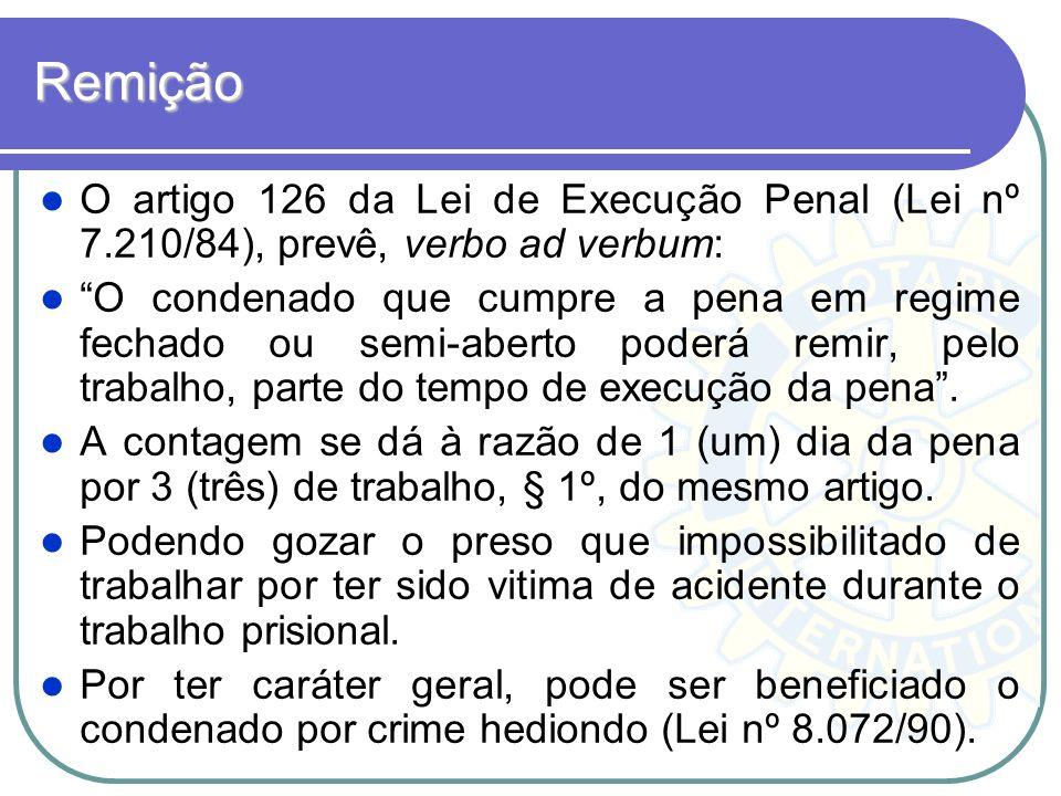 Remição O artigo 126 da Lei de Execução Penal (Lei nº 7.210/84), prevê, verbo ad verbum: O condenado que cumpre a pena em regime fechado ou semi-abert
