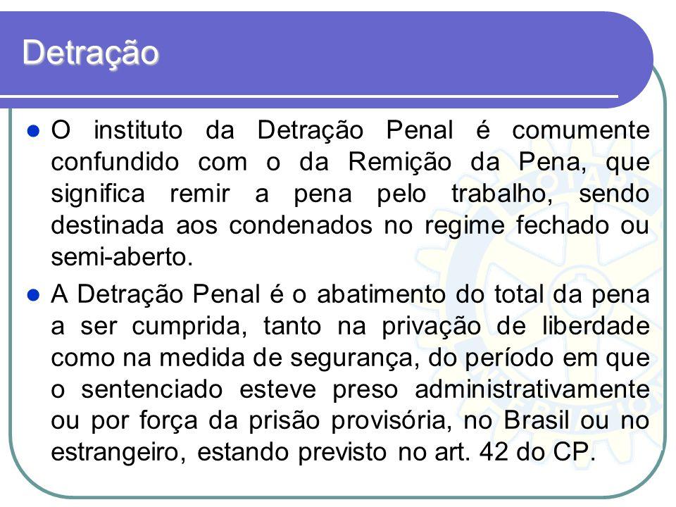 Detração O instituto da Detração Penal é comumente confundido com o da Remição da Pena, que significa remir a pena pelo trabalho, sendo destinada aos