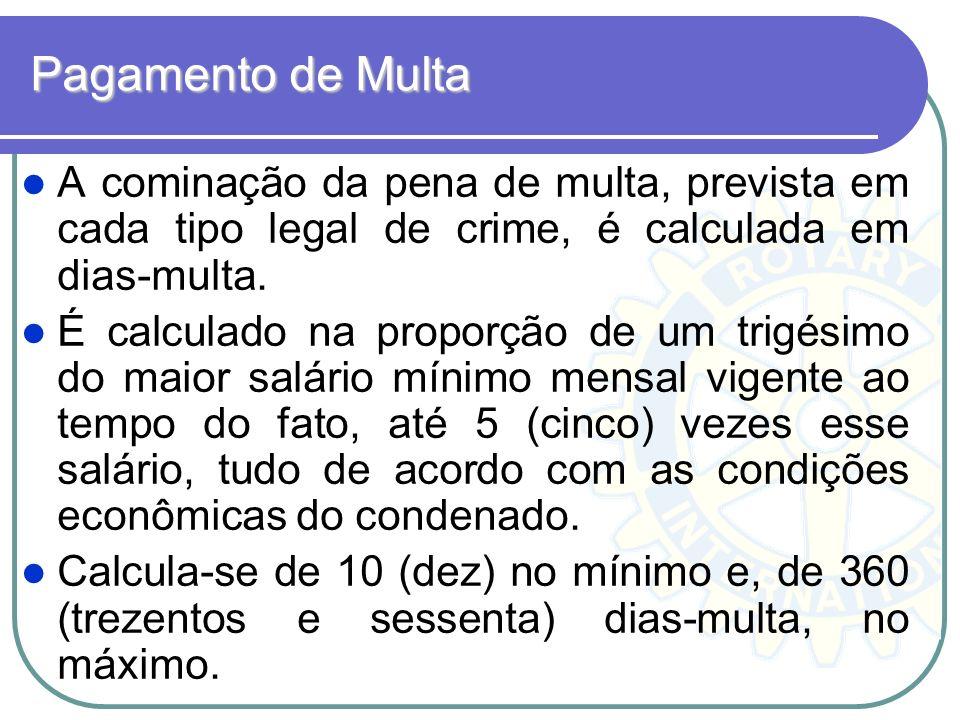 Pagamento de Multa A cominação da pena de multa, prevista em cada tipo legal de crime, é calculada em dias-multa. É calculado na proporção de um trigé