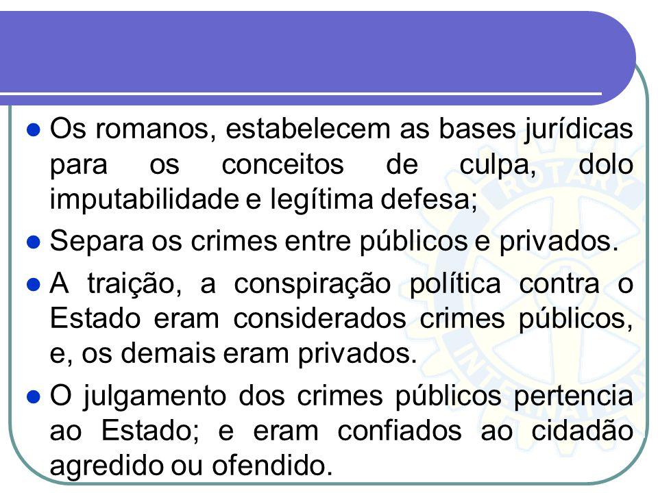 Os romanos, estabelecem as bases jurídicas para os conceitos de culpa, dolo imputabilidade e legítima defesa; Separa os crimes entre públicos e privad