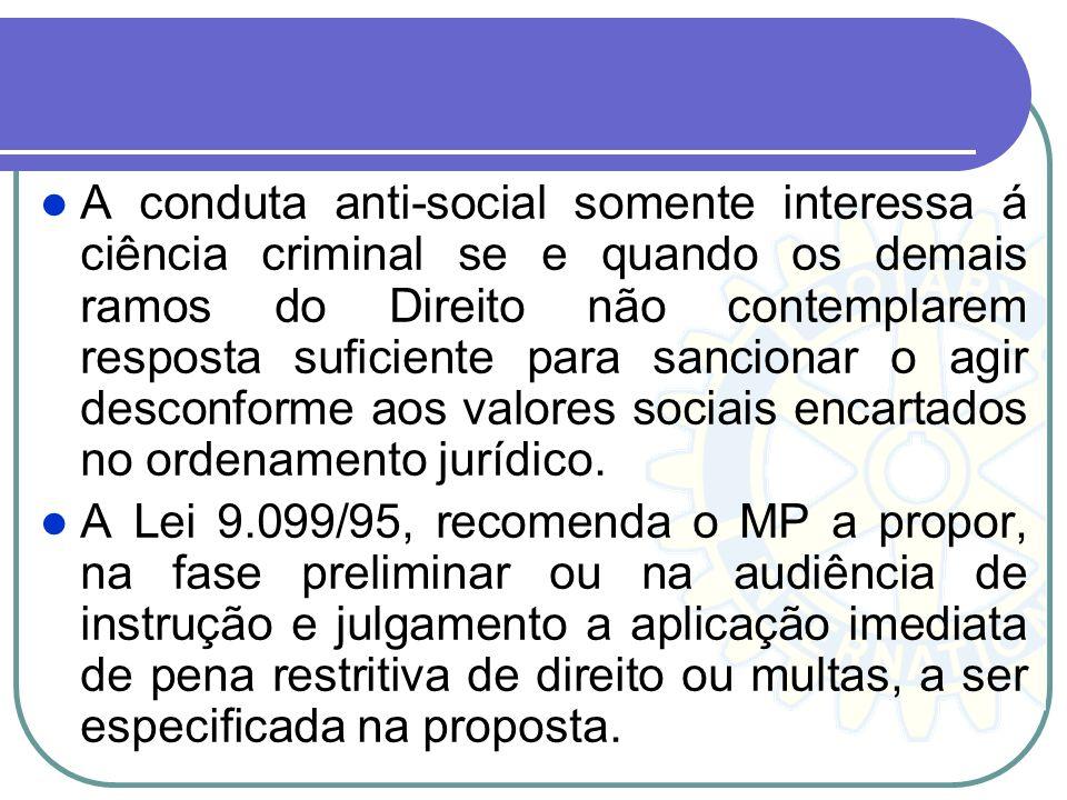 A conduta anti-social somente interessa á ciência criminal se e quando os demais ramos do Direito não contemplarem resposta suficiente para sancionar