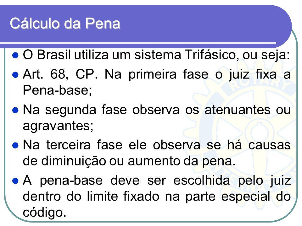 Cálculo da Pena O Brasil utiliza um sistema Trifásico, ou seja: Art. 68, CP. Na primeira fase o juiz fixa a Pena-base; Na segunda fase observa os aten