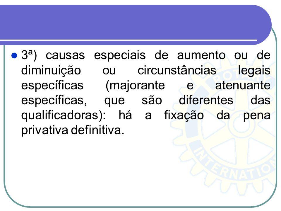 3ª) causas especiais de aumento ou de diminuição ou circunstâncias legais específicas (majorante e atenuante específicas, que são diferentes das quali