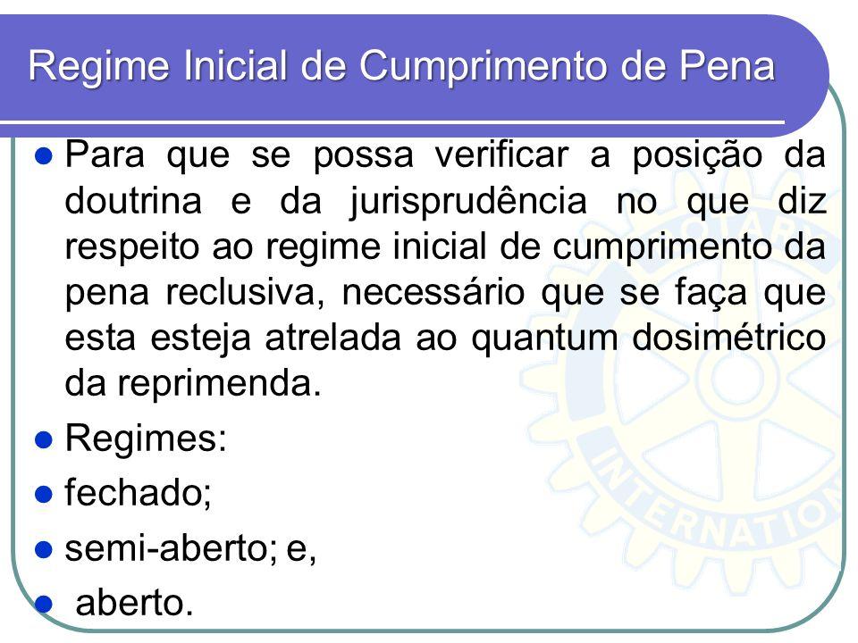 Regime Inicial de Cumprimento de Pena Para que se possa verificar a posição da doutrina e da jurisprudência no que diz respeito ao regime inicial de c