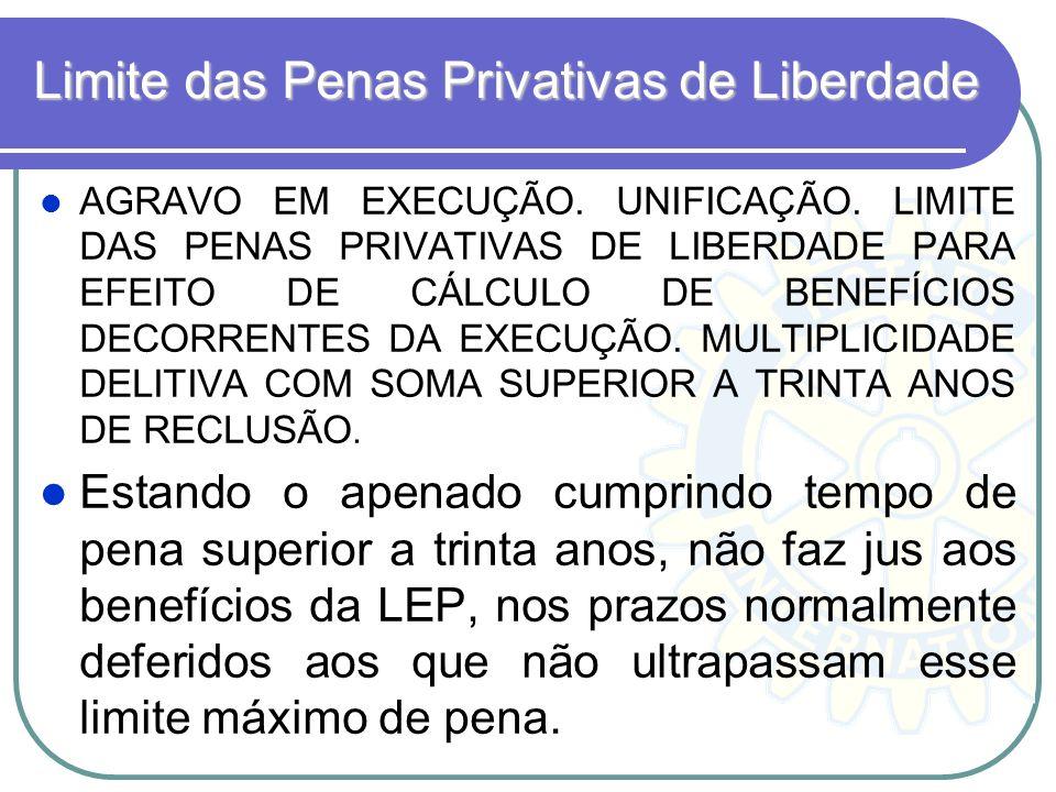 Limite das Penas Privativas de Liberdade AGRAVO EM EXECUÇÃO. UNIFICAÇÃO. LIMITE DAS PENAS PRIVATIVAS DE LIBERDADE PARA EFEITO DE CÁLCULO DE BENEFÍCIOS
