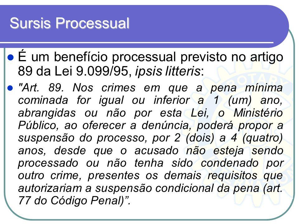 Sursis Processual É um benefício processual previsto no artigo 89 da Lei 9.099/95, ipsis litteris: