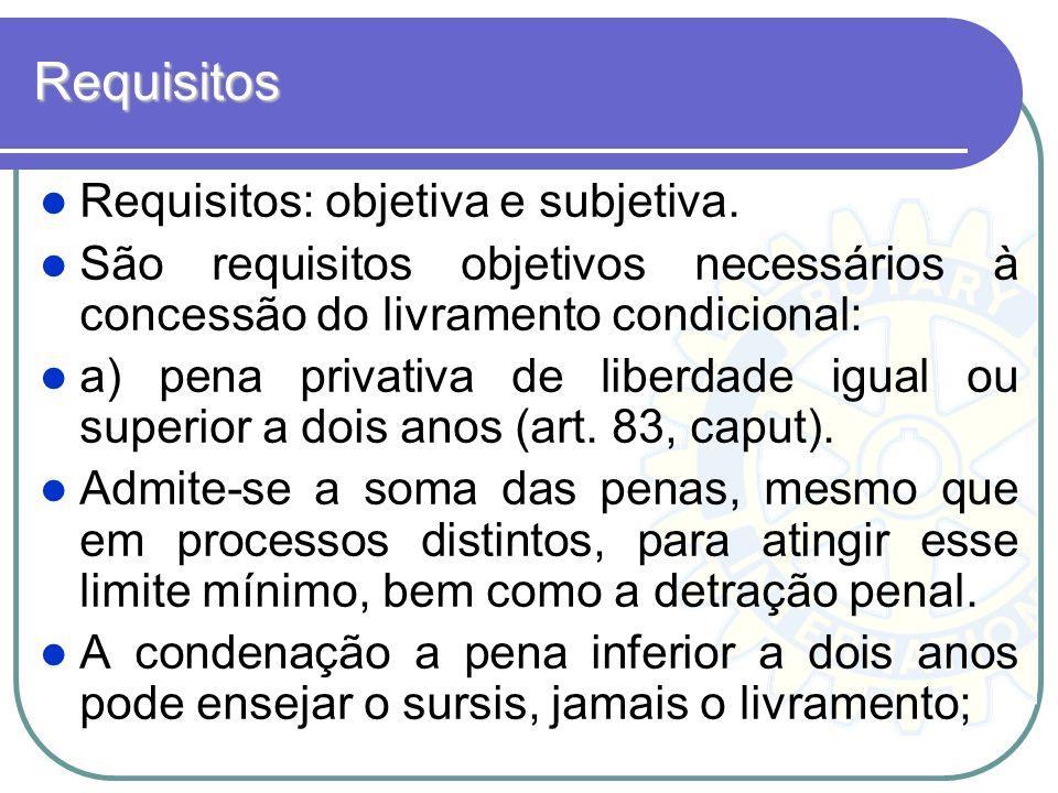 Requisitos Requisitos: objetiva e subjetiva. São requisitos objetivos necessários à concessão do livramento condicional: a) pena privativa de liberdad