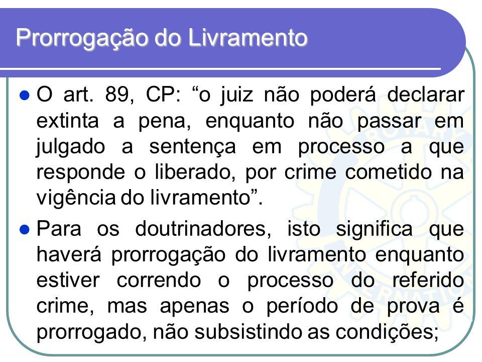 Prorrogação do Livramento O art. 89, CP: o juiz não poderá declarar extinta a pena, enquanto não passar em julgado a sentença em processo a que respon
