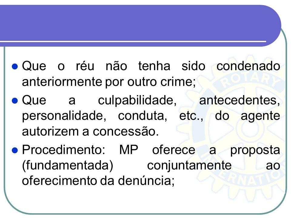Que o réu não tenha sido condenado anteriormente por outro crime; Que a culpabilidade, antecedentes, personalidade, conduta, etc., do agente autorizem