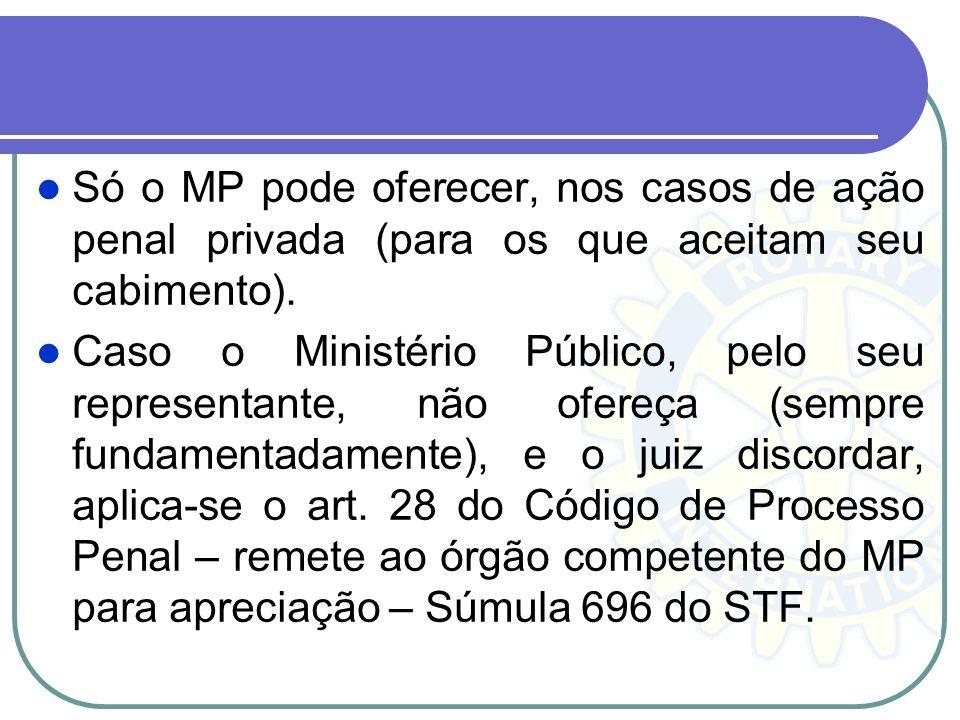 Só o MP pode oferecer, nos casos de ação penal privada (para os que aceitam seu cabimento). Caso o Ministério Público, pelo seu representante, não ofe