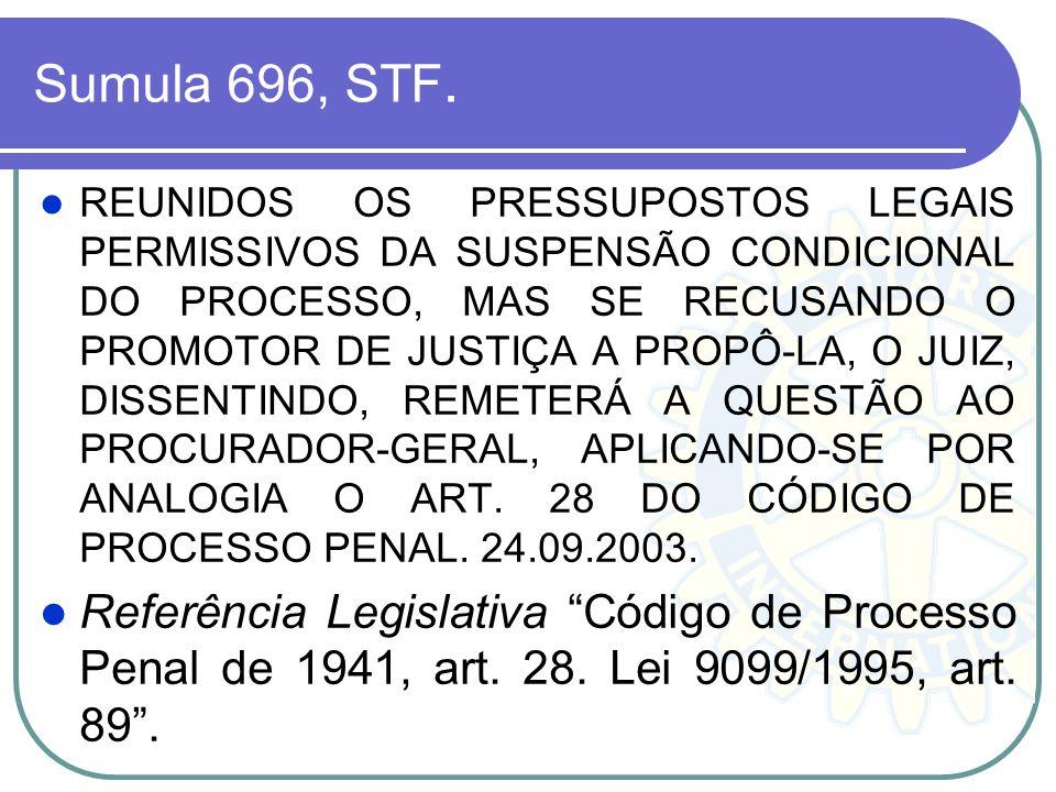 Sumula 696, STF. REUNIDOS OS PRESSUPOSTOS LEGAIS PERMISSIVOS DA SUSPENSÃO CONDICIONAL DO PROCESSO, MAS SE RECUSANDO O PROMOTOR DE JUSTIÇA A PROPÔ-LA,