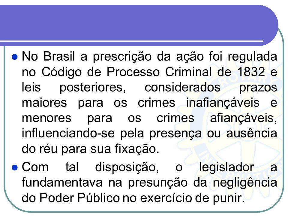 No Brasil a prescrição da ação foi regulada no Código de Processo Criminal de 1832 e leis posteriores, considerados prazos maiores para os crimes inaf