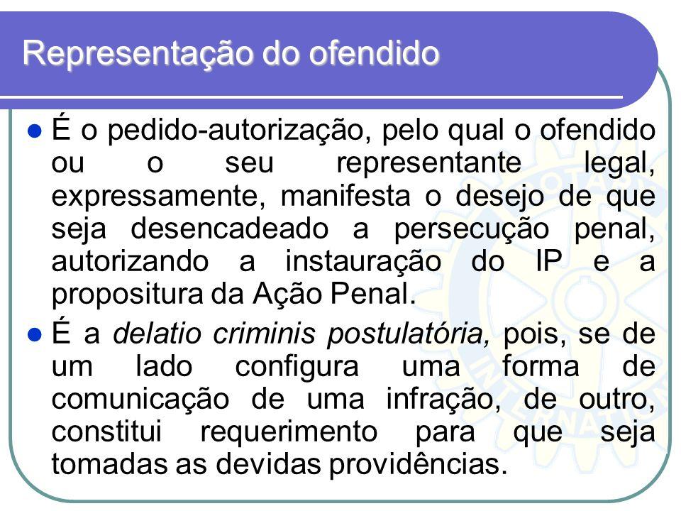 Representação do ofendido É o pedido-autorização, pelo qual o ofendido ou o seu representante legal, expressamente, manifesta o desejo de que seja des