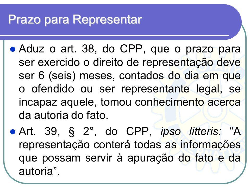 Prazo para Representar Aduz o art. 38, do CPP, que o prazo para ser exercido o direito de representação deve ser 6 (seis) meses, contados do dia em qu