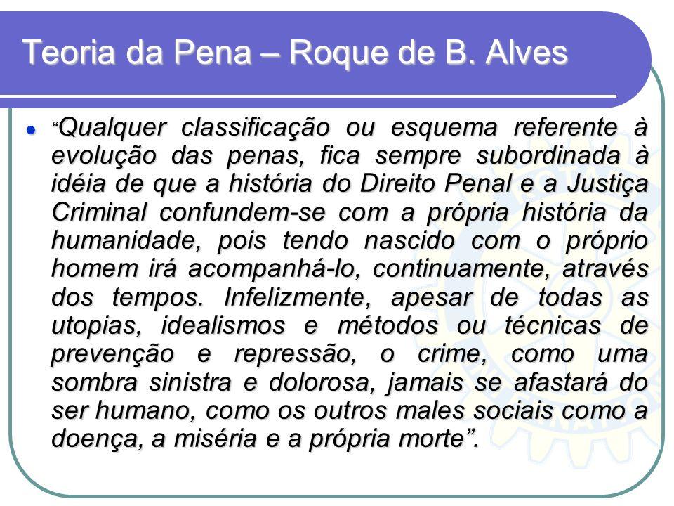 Teoria da Pena – Roque de B. Alves Qualquer classificação ou esquema referente à evolução das penas, fica sempre subordinada à idéia de que a história