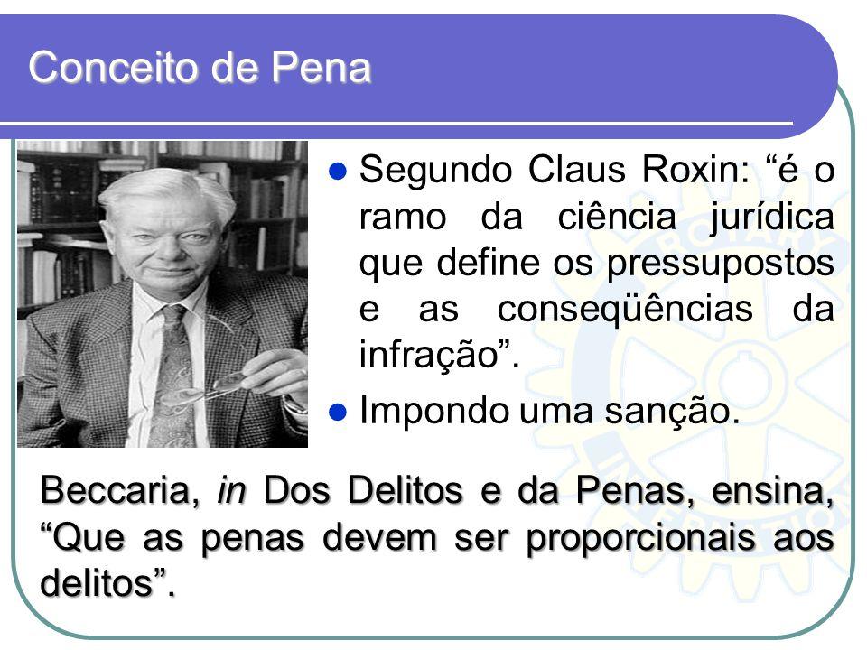 Conceito de Pena Segundo Claus Roxin: é o ramo da ciência jurídica que define os pressupostos e as conseqüências da infração. Impondo uma sanção. Becc