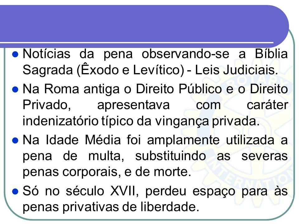 Notícias da pena observando-se a Bíblia Sagrada (Êxodo e Levítico) - Leis Judiciais. Na Roma antiga o Direito Público e o Direito Privado, apresentava