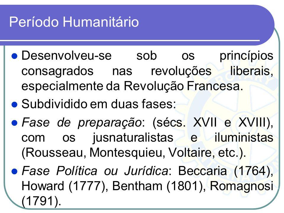 Período Humanitário Desenvolveu-se sob os princípios consagrados nas revoluções liberais, especialmente da Revolução Francesa. Subdividido em duas fas