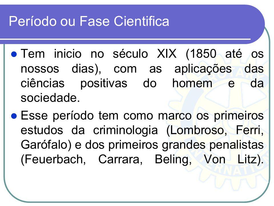 Período ou Fase Cientifica Tem inicio no século XIX (1850 até os nossos dias), com as aplicações das ciências positivas do homem e da sociedade. Esse