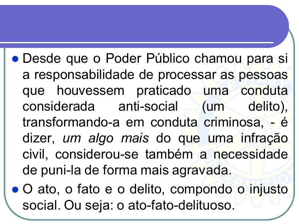 Desde que o Poder Público chamou para si a responsabilidade de processar as pessoas que houvessem praticado uma conduta considerada anti-social (um de