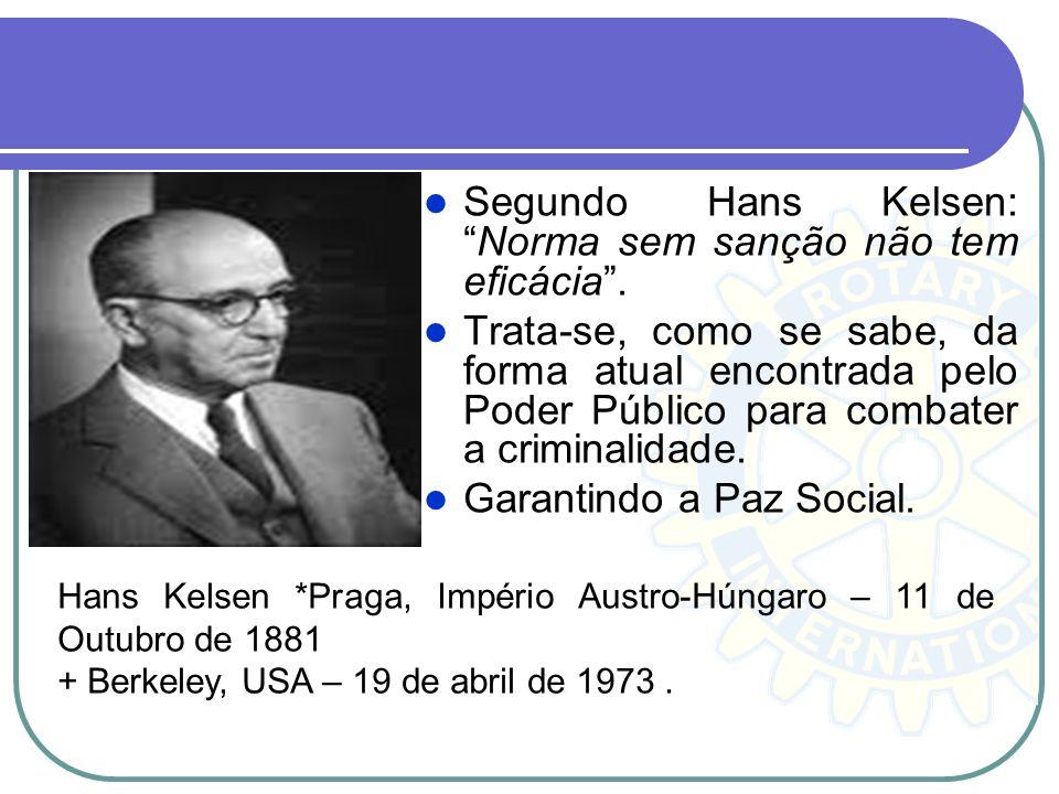 Segundo Hans Kelsen:Norma sem sanção não tem eficácia. Trata-se, como se sabe, da forma atual encontrada pelo Poder Público para combater a criminalid
