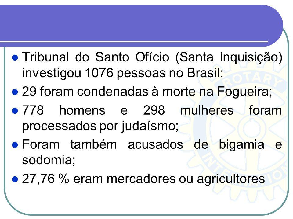 Tribunal do Santo Ofício (Santa Inquisição) investigou 1076 pessoas no Brasil: 29 foram condenadas à morte na Fogueira; 778 homens e 298 mulheres fora