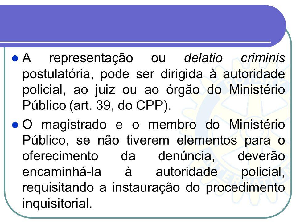A representação é um pedidoautorização em que o interessado manifesta o desejo de que seja proposta a ação penal pública e, portanto, como medida prel