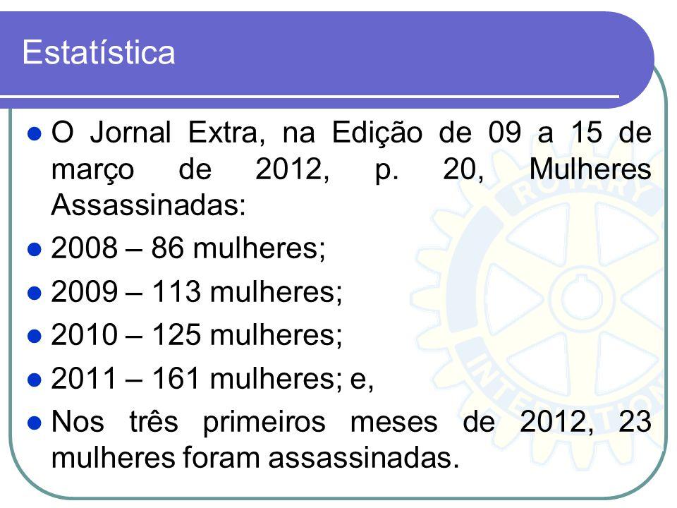 Estatística Até a data de hoje (26.03.2012) à Lei Maria da Penha já processou cerca de 300 mil processos, com mais de 100 mil sentenças por agressão c
