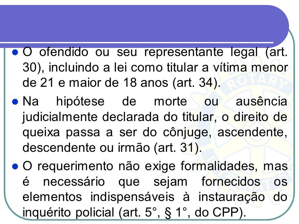 Instauração de Inquérito no caso de ação privada A lei prevê expressamente que determinado crime somente se apura mediante queixa, determina para ele